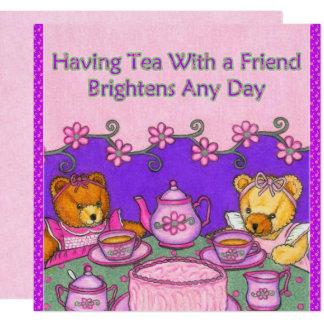 El té con el amigo aclara los osos de Card~Teddy Invitación 13,3 Cm X 13,3cm