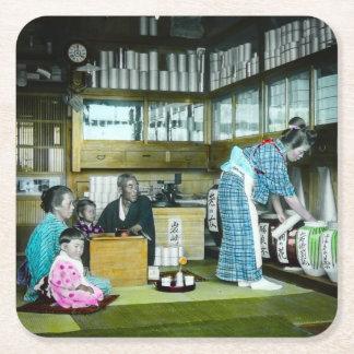 El té japonés Japón viejo mercantil del vintage Posavasos Desechable Cuadrado