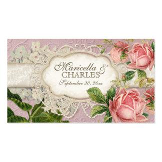 El té moderno del cordón del vintage manchó rosas tarjetas de visita