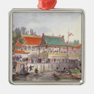 El teatro en Tien-Canta, de 'China en una serie de Adorno Cuadrado Plateado