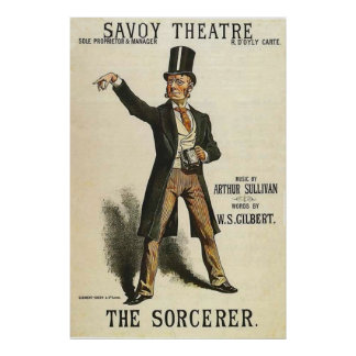 El teatro Londres 1884 de la col rizada del ~ del Póster
