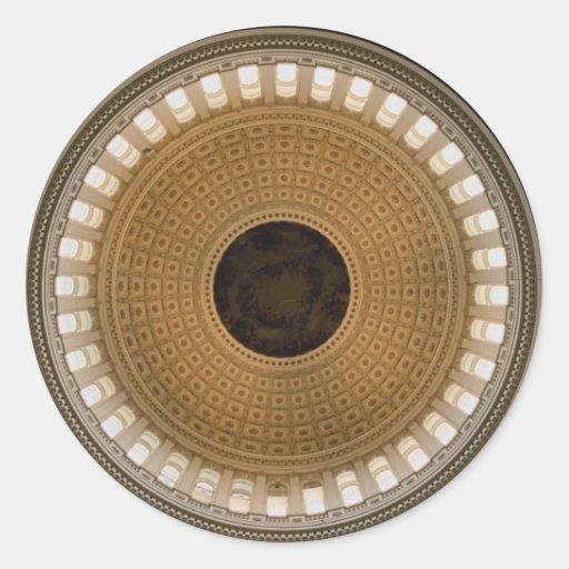 El techo de la bóveda del capitolio, Washington, Etiqueta Redonda