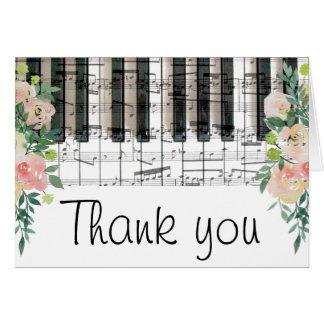 el teclado de piano floral de la música le tarjeta