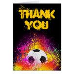 El tema de neón colorido del fútbol le agradece tarjeta pequeña