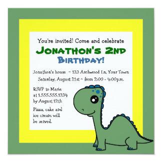 El tema lindo del dinosaurio embroma el cumpleaños invitación 13,3 cm x 13,3cm