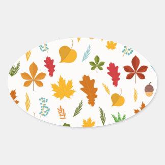 El thankgiving decoritive estacional de las hojas pegatina ovalada