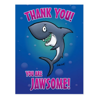 El tiburón divertido le agradece postal