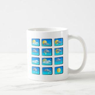 El tiempo abotona tema taza de café