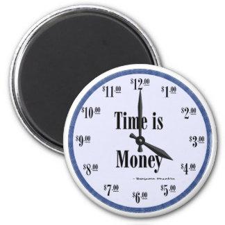 El tiempo es oro - imán azul de la cara de reloj