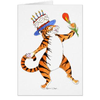 El tigre canta el feliz cumpleaños - tarjeta de