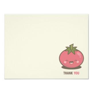 El tomate feliz lindo de Kawaii le agradece Invitación 10,8 X 13,9 Cm