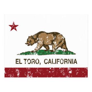 EL Toro de la bandera de California apenado Postal