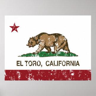 EL Toro de la bandera de California apenado Impresiones