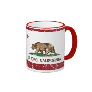 EL Toro de la bandera de California apenado Tazas De Café
