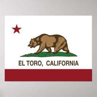 EL Toro de la bandera de la república de Californi Poster