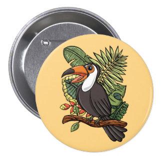 El Toucan feliz Chapa Redonda De 7 Cm