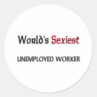 El trabajador parado más atractivo del mundo etiquetas redondas