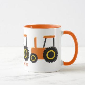 El tractor anaranjado apenas añade nombre taza