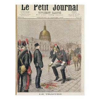 El traidor la degradación de Alfred Dreyfus Postal
