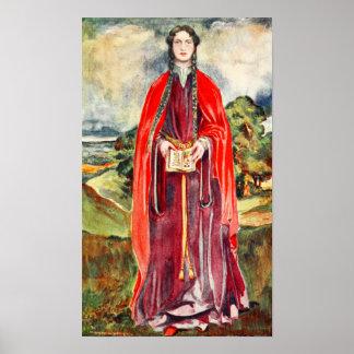 El traje de la mujer de la época de Henry I Posters
