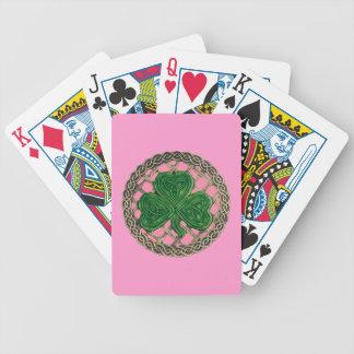 El trébol rosado en Celtic anuda naipes Baraja Cartas De Poker