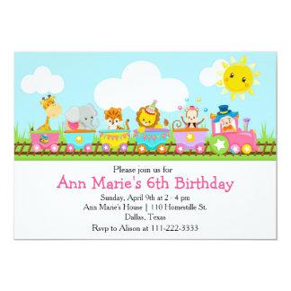 El tren animal del circo embroma cumpleaños en invitación 12,7 x 17,8 cm