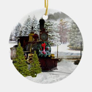 El tren del navidad está viniendo al ornamento de