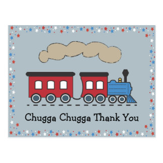 El tren le agradece postal - rojo, blanco y azul