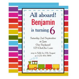 El tren personalizó cualquier cumpleaños de la invitación 12,7 x 17,8 cm