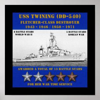 El trenzar de USS (DD-540) Posters