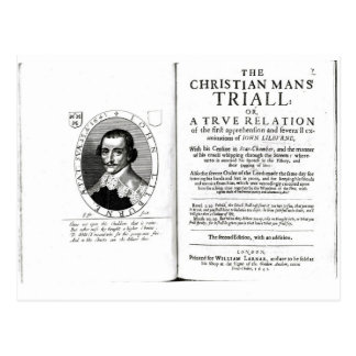 El Trial del hombre cristiano de Juan Lilburne Tarjeta Postal
