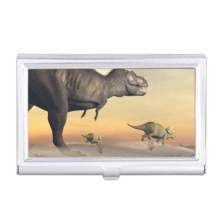 El Triceratops que se escapa del tyrannosaurus 3D Caja Para Tarjetas De Visita