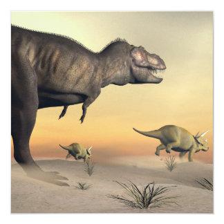 El Triceratops que se escapa del tyrannosaurus 3D Invitación 13,3 Cm X 13,3cm