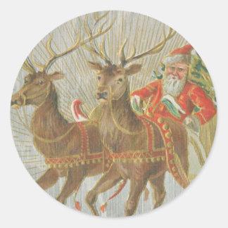 El trineo de Santa del vintage Etiquetas Redondas