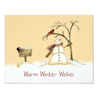 El trineo rojo del pájaro del muñeco de nieve invitación 10,8 x 13,9 cm
