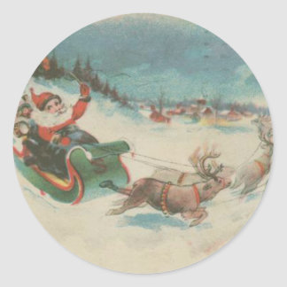 El trineo y el reno de Santa del vintage Pegatina Redonda