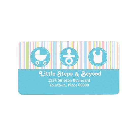 El trío del icono del bebé raya la dirección azul etiqueta de dirección