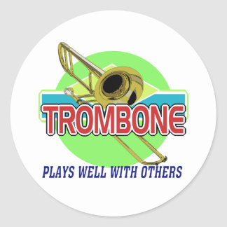 El Trombone juega bien Pegatina Redonda