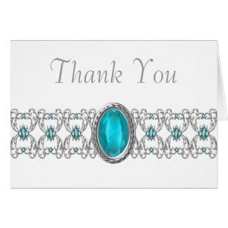 El trullo azul y de plata le agradece tarjeta pequeña