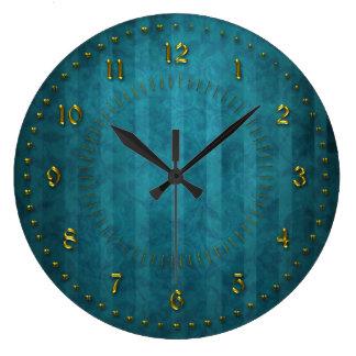 El trullo de TTurquoise peló numerado Reloj Redondo Grande