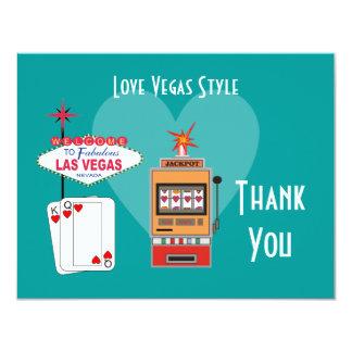 El trullo del estilo de Vegas del amor le agradece Invitación 10,8 X 13,9 Cm
