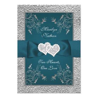 El trullo y el casarse unido gris de los corazones invitación 12,7 x 17,8 cm