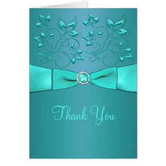 El trullo y la aguamarina II floral le agradecen Tarjeta De Felicitación