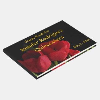 El tulipán rojo floral florece el libro de visitas
