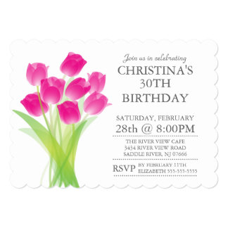 El tulipán tipográfico moderno florece a la fiesta invitación 12,7 x 17,8 cm