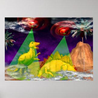 El UFO emite encima de dinosaurios en luz verde Poster