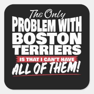 El único problema con los terrieres de Boston Pegatina Cuadrada