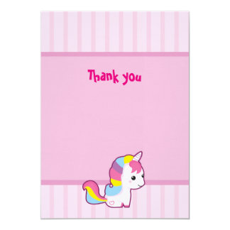 El unicornio de Kawaii le agradece Invitación 12,7 X 17,8 Cm