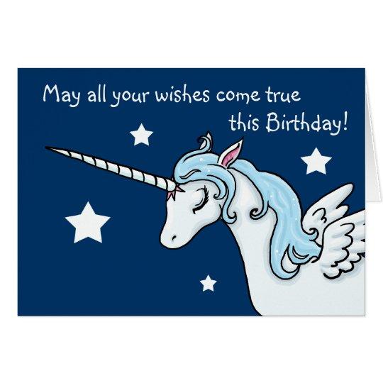 El unicornio de Pegaso desea la tarjeta de