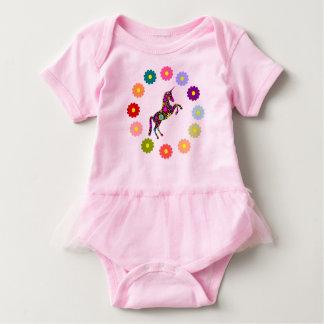 El unicornio florece al bebé del tutú body para bebé